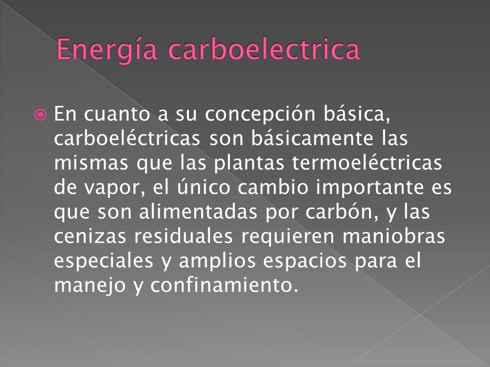 En cuanto a su concepción básica, carboeléctricas son básicamente las mismas que las plantas termoeléctricas de vapor, el único cambio importante es q
