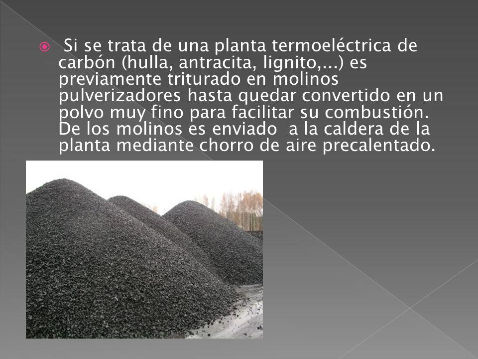 Si se trata de una planta termoeléctrica de carbón (hulla, antracita, lignito,...) es previamente triturado en molinos pulverizadores hasta quedar con
