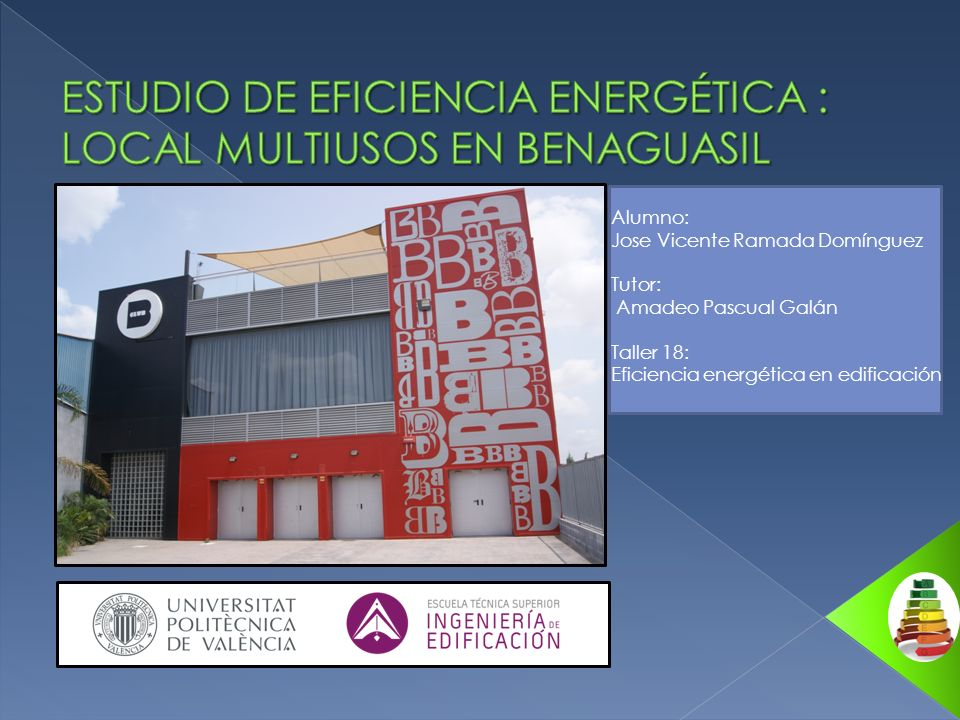 -SITUACIÓN ACTUAL EN ESPAÑA INTRODUCCIÓN Estudio de eficiencia energética: local multiusos en Benaguasil -SISTEMAS ACTIVOS - SISTEMAS PASIVOS CONCLUSIONES -CONSUMOS Y EMISIONES -ETIQUETA ENERGÉTICA OBJETIVOS PRESENTACIÓN DEL EDIFICIO ESTUDIO INICIAL DE EFICIENCIA ENERGÉTICA PROPUESTAS DE MEJORA