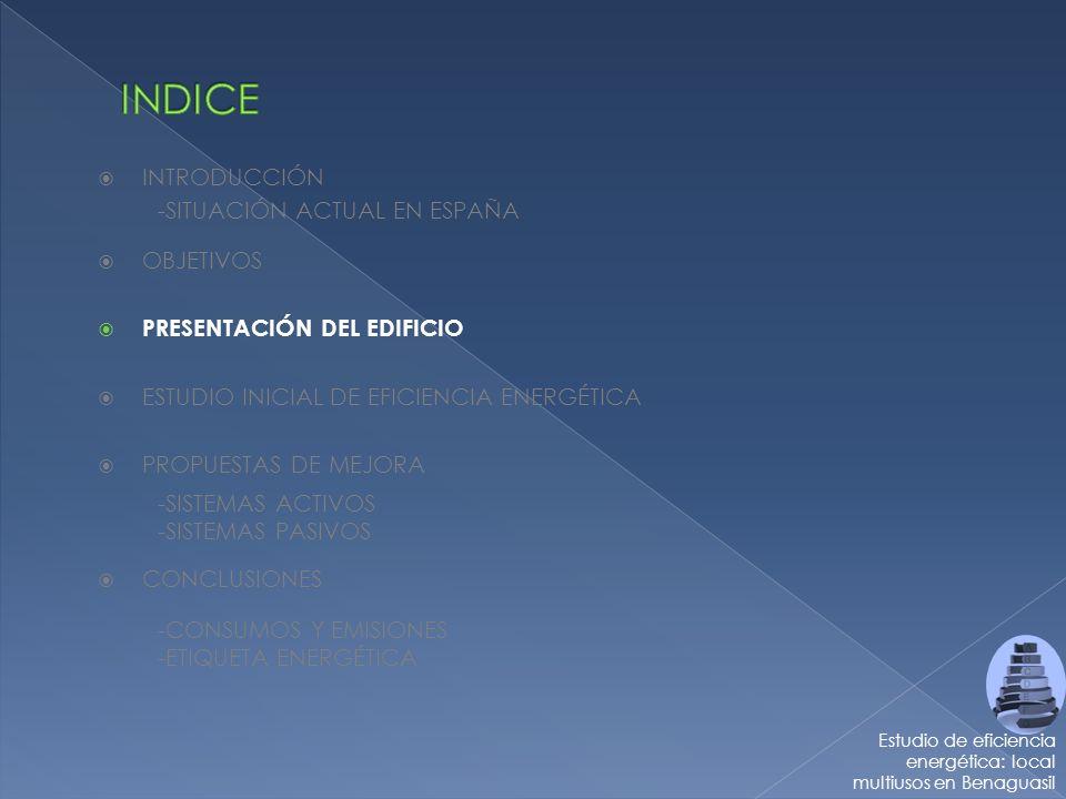 -SITUACIÓN ACTUAL EN ESPAÑA INTRODUCCIÓN Estudio de eficiencia energética: local multiusos en Benaguasil -SISTEMAS ACTIVOS - SISTEMAS PASIVOS CONCLUSIONES -CONSUMOS Y EMISIONES - ETIQUETA ENERGÉTICA OBJETIVOS PRESENTACIÓN DEL EDIFICIO ESTUDIO INICIAL DE EFICIENCIA ENERGÉTICA PROPUESTAS DE MEJORA
