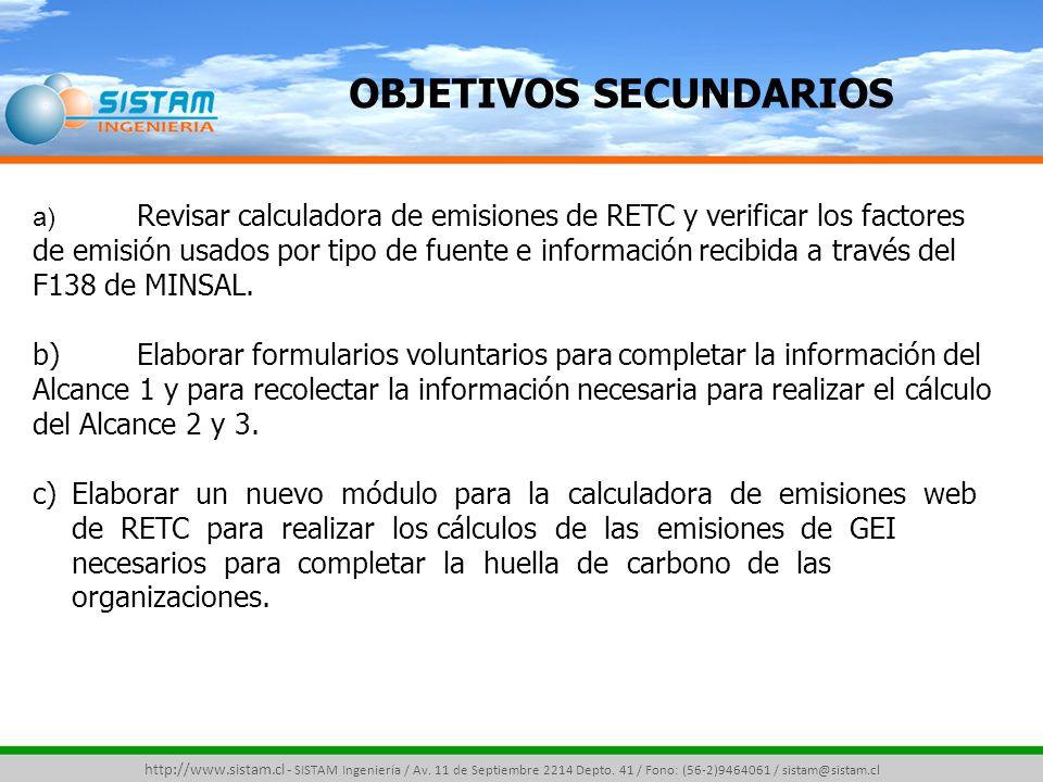 ACTIVIDADES ETAPA 2 ETAPA DE DESARROLLO (Alcance 2) http://www.sistam.cl - SISTAM Ingeniería / Av.
