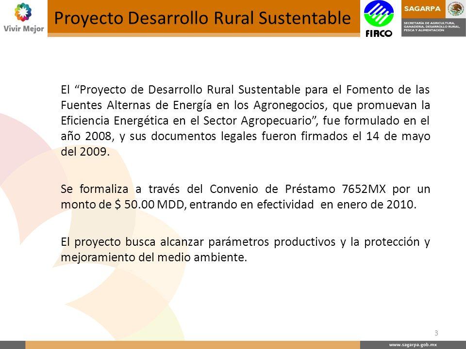El Proyecto de Desarrollo Rural Sustentable para el Fomento de las Fuentes Alternas de Energía en los Agronegocios, que promuevan la Eficiencia Energética en el Sector Agropecuario, fue formulado en el año 2008, y sus documentos legales fueron firmados el 14 de mayo del 2009.