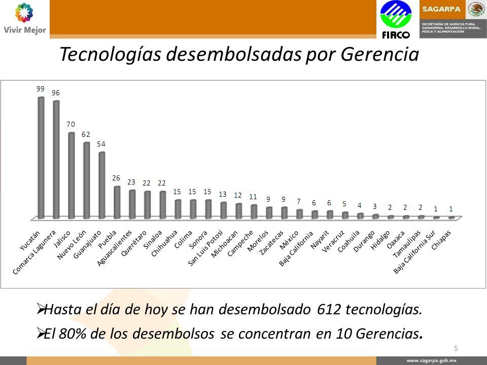 Tecnologías desembolsadas por Gerencia 5 Hasta el día de hoy se han desembolsado 612 tecnologías.