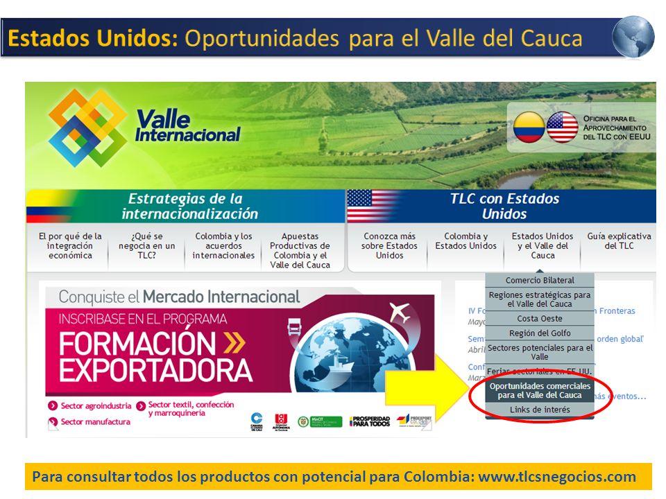 Para consultar todos los productos con potencial para Colombia: www.tlcsnegocios.com