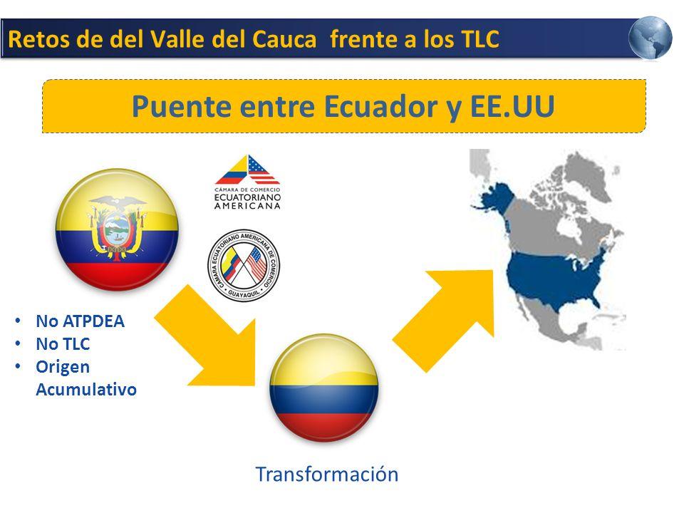 Puente entre Ecuador y EE.UU No ATPDEA No TLC Origen Acumulativo Transformación