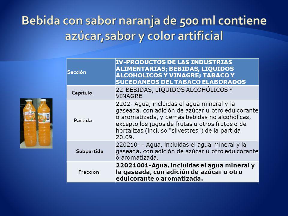 Sección IV-PRODUCTOS DE LAS INDUSTRIAS ALIMENTARIAS; BEBIDAS, LIQUIDOS ALCOHOLICOS Y VINAGRE; TABACO Y SUCEDANEOS DEL TABACO ELABORADOS Capitulo 22-BEBIDAS, LÍQUIDOS ALCOHÓLICOS Y VINAGRE Partida 2202- Agua, incluidas el agua mineral y la gaseada, con adición de azúcar u otro edulcorante o aromatizada, y demás bebidas no alcohólicas, excepto los jugos de frutas u otros frutos o de hortalizas (incluso silvestres ) de la partida 20.09.