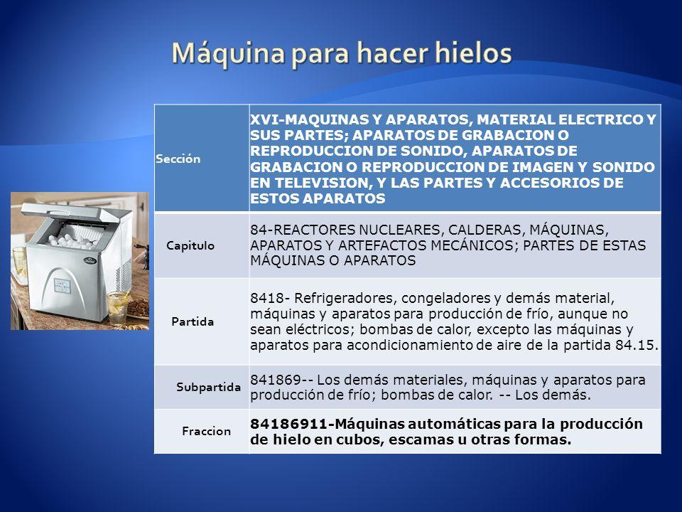 Sección XVI-MAQUINAS Y APARATOS, MATERIAL ELECTRICO Y SUS PARTES; APARATOS DE GRABACION O REPRODUCCION DE SONIDO, APARATOS DE GRABACION O REPRODUCCION DE IMAGEN Y SONIDO EN TELEVISION, Y LAS PARTES Y ACCESORIOS DE ESTOS APARATOS Capitulo 84-REACTORES NUCLEARES, CALDERAS, MÁQUINAS, APARATOS Y ARTEFACTOS MECÁNICOS; PARTES DE ESTAS MÁQUINAS O APARATOS Partida 8418- Refrigeradores, congeladores y demás material, máquinas y aparatos para producción de frío, aunque no sean eléctricos; bombas de calor, excepto las máquinas y aparatos para acondicionamiento de aire de la partida 84.15.