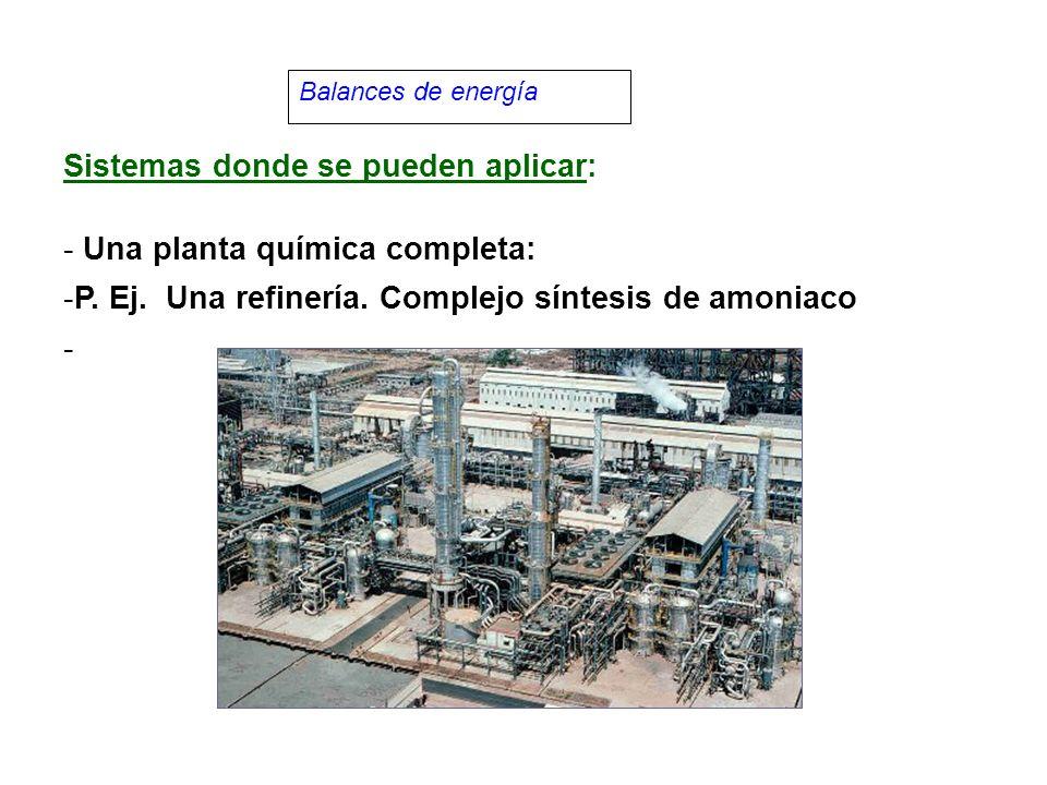Balances de energía Sistemas donde se pueden aplicar: - Una planta química completa: -P.