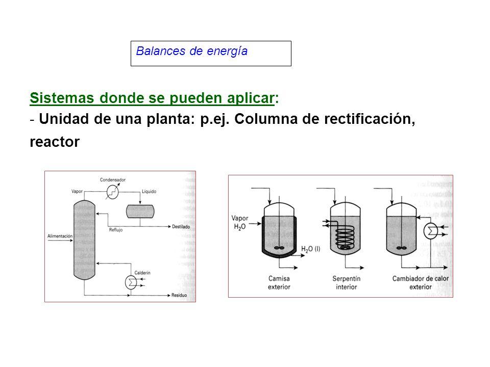 Balances de energía Sistemas donde se pueden aplicar: - Unidad de una planta: p.ej.