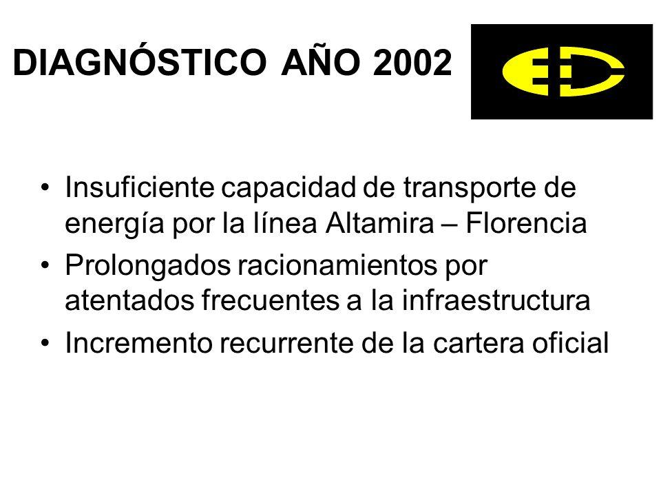 DIAGNÓSTICO AÑO 2002 Insuficiente capacidad de transporte de energía por la línea Altamira – Florencia Prolongados racionamientos por atentados frecuentes a la infraestructura Incremento recurrente de la cartera oficial