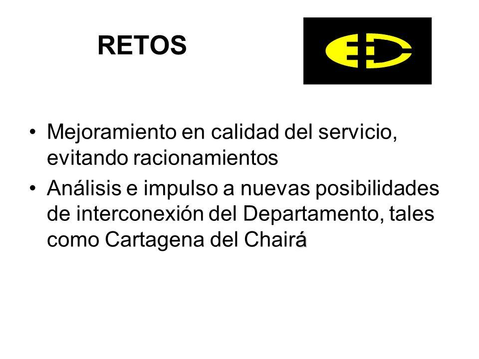 RETOS Mejoramiento en calidad del servicio, evitando racionamientos áAnálisis e impulso a nuevas posibilidades de interconexión del Departamento, tales como Cartagena del Chairá