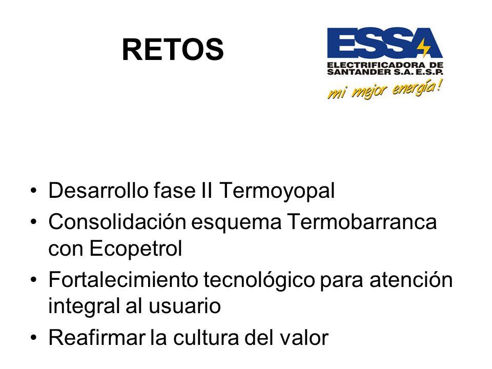 RETOS Desarrollo fase II Termoyopal Consolidación esquema Termobarranca con Ecopetrol Fortalecimiento tecnológico para atención integral al usuario Reafirmar la cultura del valor