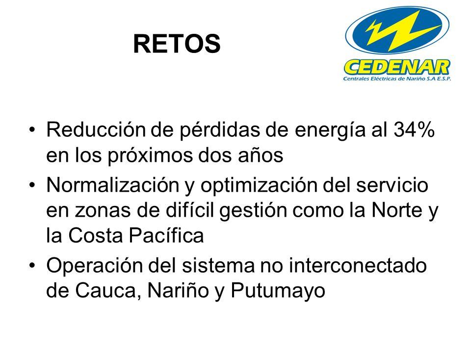 RETOS Reducción de pérdidas de energía al 34% en los próximos dos años Normalización y optimización del servicio en zonas de difícil gestión como la Norte y la Costa Pacífica Operación del sistema no interconectado de Cauca, Nariño y Putumayo