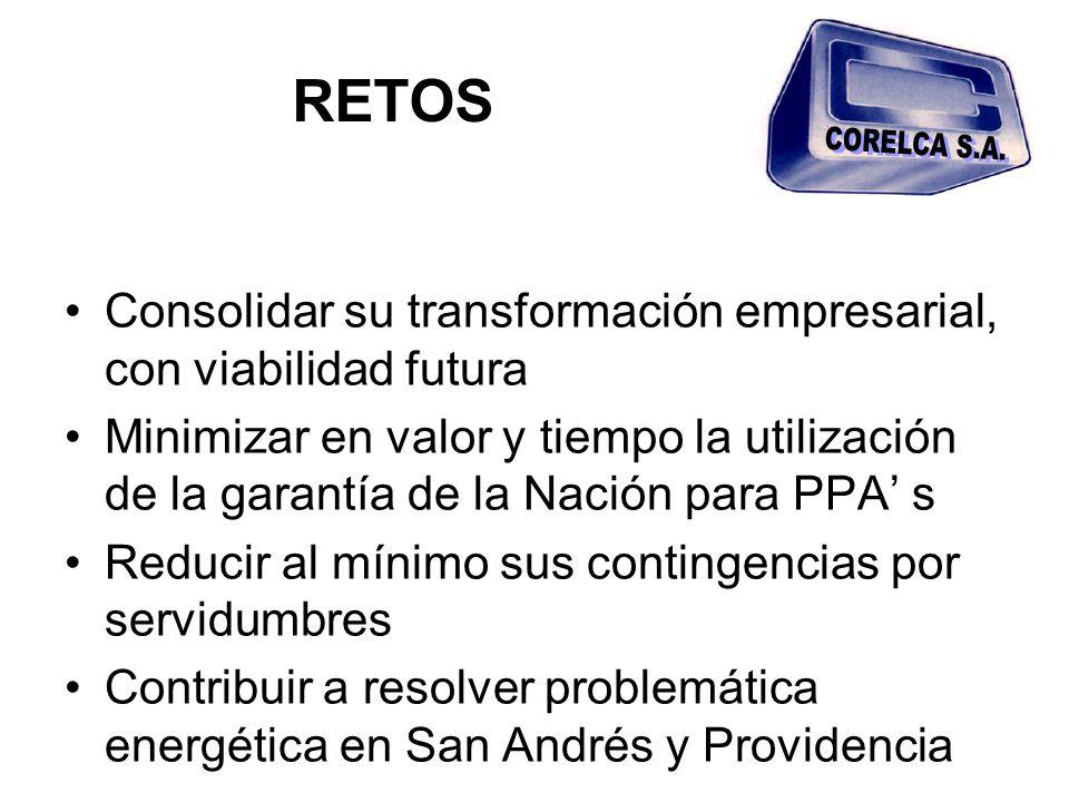 RETOS Consolidar su transformación empresarial, con viabilidad futura Minimizar en valor y tiempo la utilización de la garantía de la Nación para PPA s Reducir al mínimo sus contingencias por servidumbres Contribuir a resolver problemática energética en San Andrés y Providencia