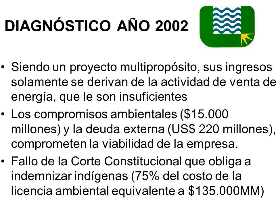 DIAGNÓSTICO AÑO 2002 Siendo un proyecto multipropósito, sus ingresos solamente se derivan de la actividad de venta de energía, que le son insuficientes Los compromisos ambientales ($15.000 millones) y la deuda externa (US$ 220 millones), comprometen la viabilidad de la empresa.
