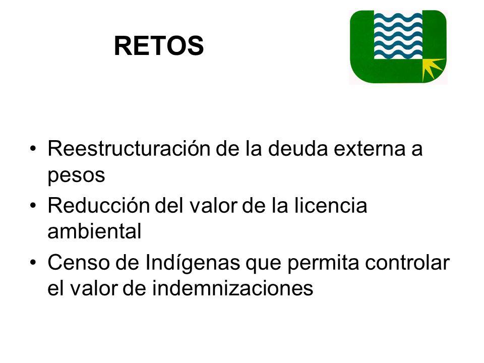 RETOS Reestructuración de la deuda externa a pesos Reducción del valor de la licencia ambiental Censo de Indígenas que permita controlar el valor de indemnizaciones