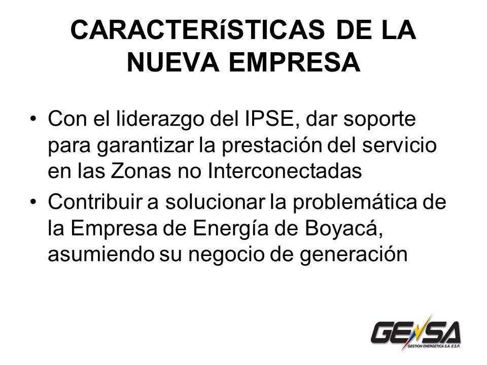 CARACTERíSTICAS DE LA NUEVA EMPRESA Con el liderazgo del IPSE, dar soporte para garantizar la prestación del servicio en las Zonas no Interconectadas Contribuir a solucionar la problemática de la Empresa de Energía de Boyacá, asumiendo su negocio de generación