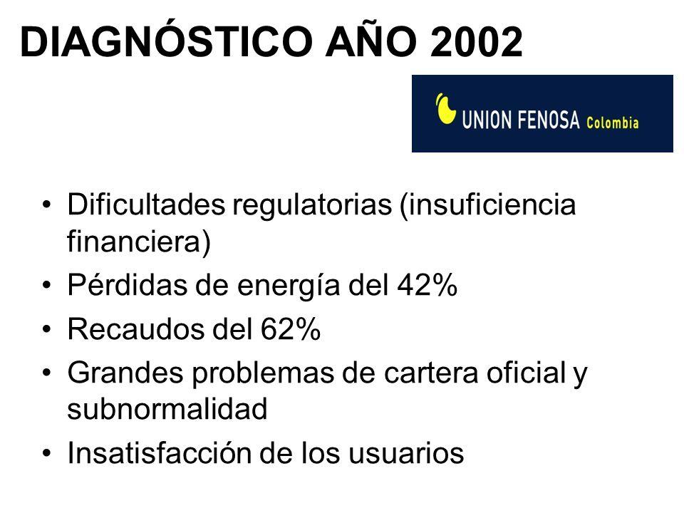DIAGNÓSTICO AÑO 2002 Dificultades regulatorias (insuficiencia financiera) Pérdidas de energía del 42% Recaudos del 62% Grandes problemas de cartera oficial y subnormalidad Insatisfacción de los usuarios