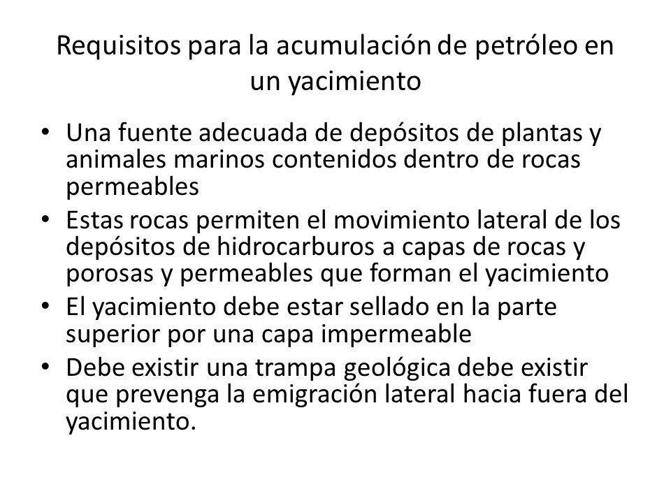 Requisitos para la acumulación de petróleo en un yacimiento Una fuente adecuada de depósitos de plantas y animales marinos contenidos dentro de rocas
