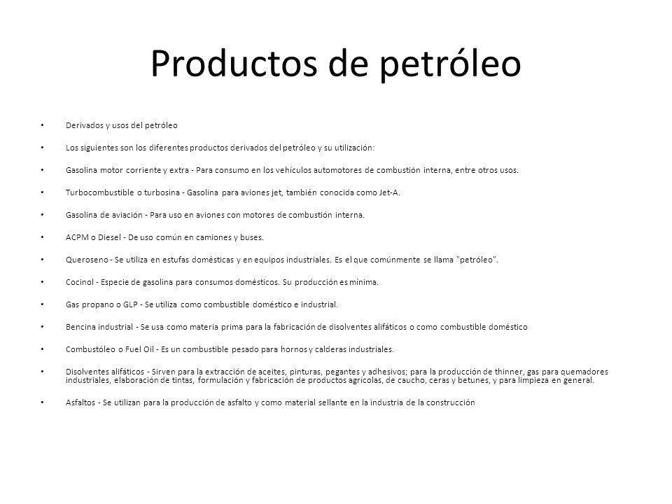 Productos de petróleo Derivados y usos del petróleo Los siguientes son los diferentes productos derivados del petróleo y su utilización: Gasolina motor corriente y extra - Para consumo en los vehículos automotores de combustión interna, entre otros usos.