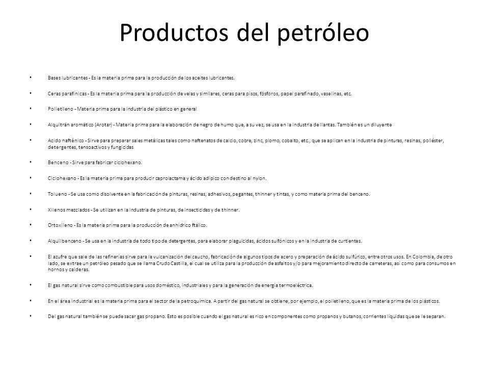 Productos del petróleo Bases lubricantes - Es la materia prima para la producción de los aceites lubricantes. Ceras parafínicas - Es la materia prima