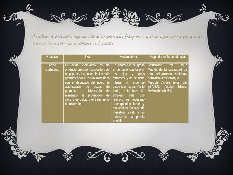 Consultando la bibliografía, haga una lista de las propiedades fisicoquímicas, y el uso y precauciones que se deben tener con los reactivos que se uti