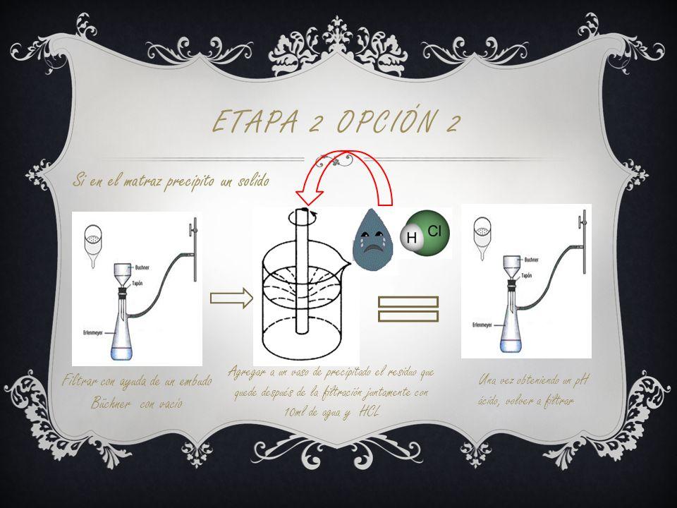 ETAPA 2 OPCIÓN 2 Si en el matraz precipito un solido Filtrar con ayuda de un embudo Büchner con vacío Agregar a un vaso de precipitado el residuo que