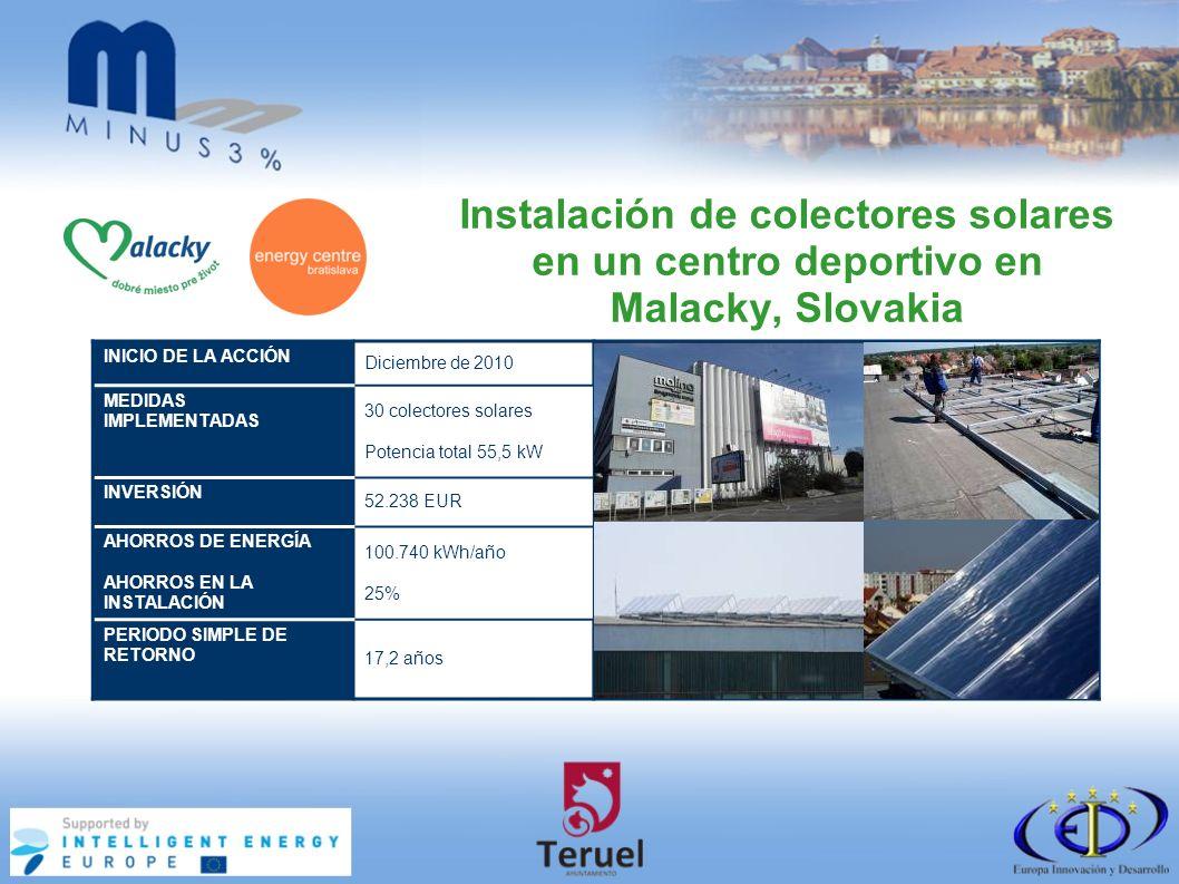 Instalación de colectores solares en un centro deportivo en Malacky, Slovakia INICIO DE LA ACCIÓN Diciembre de 2010 MEDIDAS IMPLEMENTADAS 30 colectores solares Potencia total 55,5 kW INVERSIÓN 52.238 EUR AHORROS DE ENERGÍA AHORROS EN LA INSTALACIÓN 100.740 kWh/año 25% PERIODO SIMPLE DE RETORNO 17,2 años