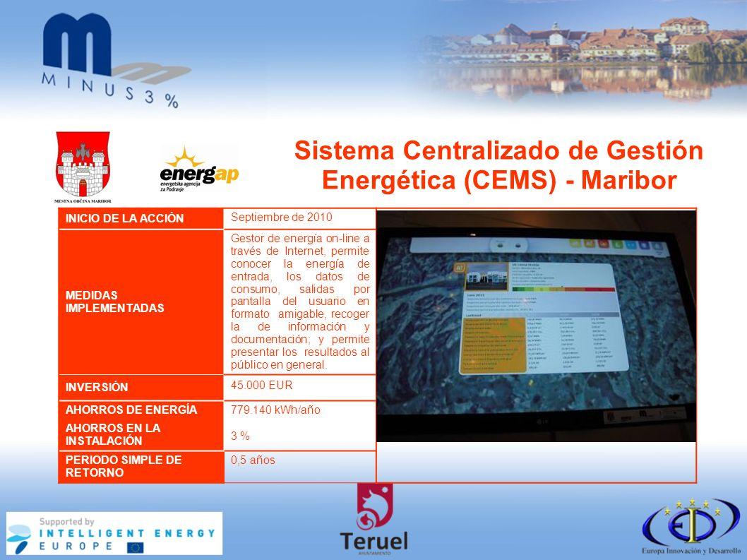 Sistema Centralizado de Gestión Energética (CEMS) - Maribor INICIO DE LA ACCIÓN Septiembre de 2010 MEDIDAS IMPLEMENTADAS Gestor de energía on-line a través de Internet, permite conocer la energía de entrada, los datos de consumo, salidas por pantalla del usuario en formato amigable, recoger la de información y documentación; y permite presentar los resultados al público en general.