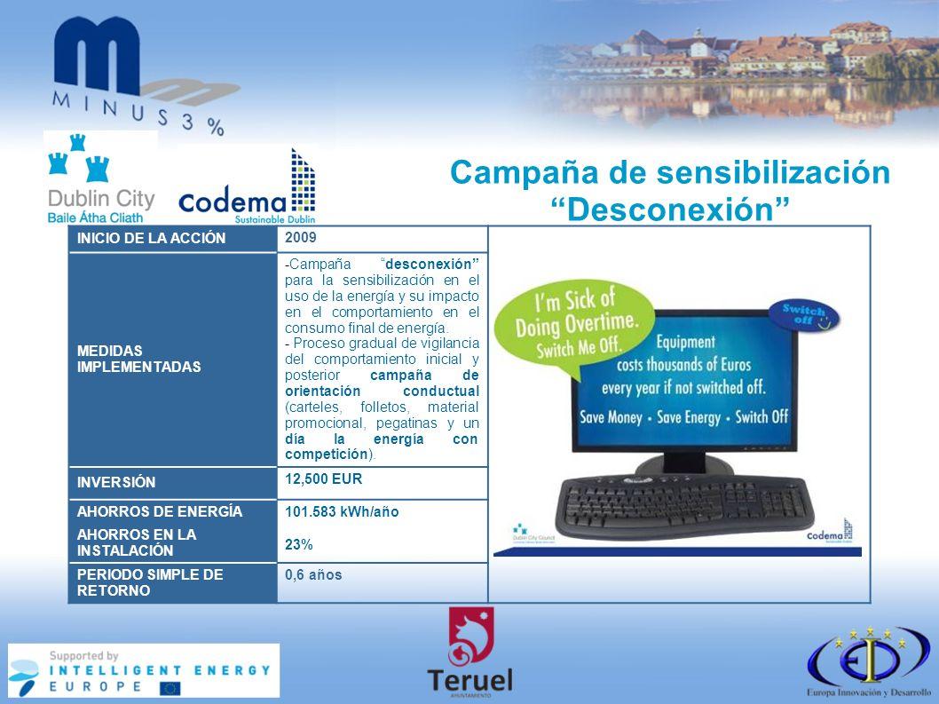 Campaña de sensibilización Desconexión INICIO DE LA ACCIÓN 2009 MEDIDAS IMPLEMENTADAS -Campaña desconexión para la sensibilización en el uso de la energía y su impacto en el comportamiento en el consumo final de energía.