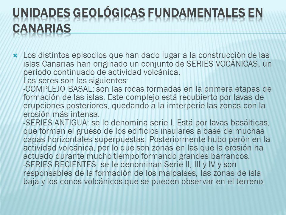 Los distintos episodios que han dado lugar a la construcción de las islas Canarias han originado un conjunto de SERIES VOCÁNICAS, un período continuad