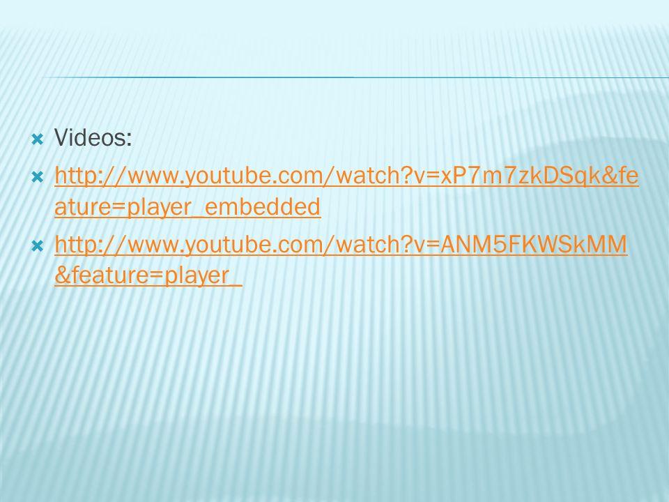 Videos: http://www.youtube.com/watch?v=xP7m7zkDSqk&fe ature=player_embedded http://www.youtube.com/watch?v=xP7m7zkDSqk&fe ature=player_embedded http:/
