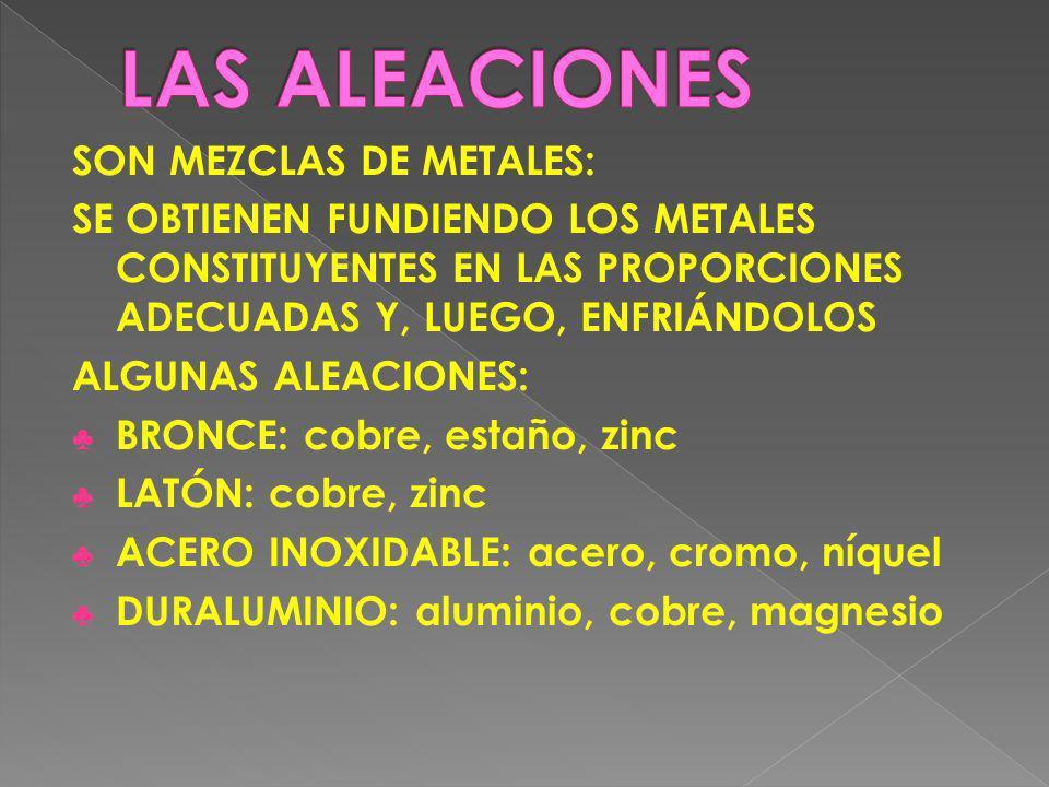 SON MEZCLAS DE METALES: SE OBTIENEN FUNDIENDO LOS METALES CONSTITUYENTES EN LAS PROPORCIONES ADECUADAS Y, LUEGO, ENFRIÁNDOLOS ALGUNAS ALEACIONES: BRON