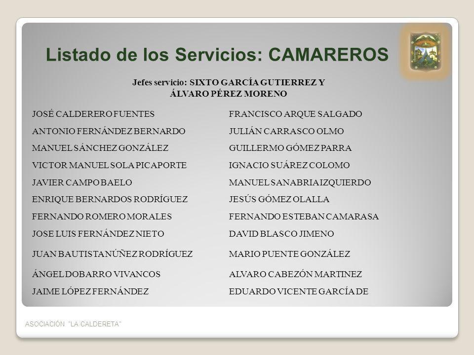 ASOCIACIÓN LA CALDERETA Listado de los Servicios: PLAZA DE TOROS, PORTEROS Y VIGILANTES Jefes servicio: EULOGIO BLASCO CONTRERAS Y ANTONIO ALVAREZ DE LUCAS AGUSTÍN GONZALEZ DOMÍNGUEZEUSEBIO CRESPO MARTÍNEZ CARLOS BERNARDOS VALVERDEJOSE LUIS BERNARDOS HERRERA ANASTASIO LUIS GONZALEZ BLASCOJUAN ORDUÑA Y PUEBLA