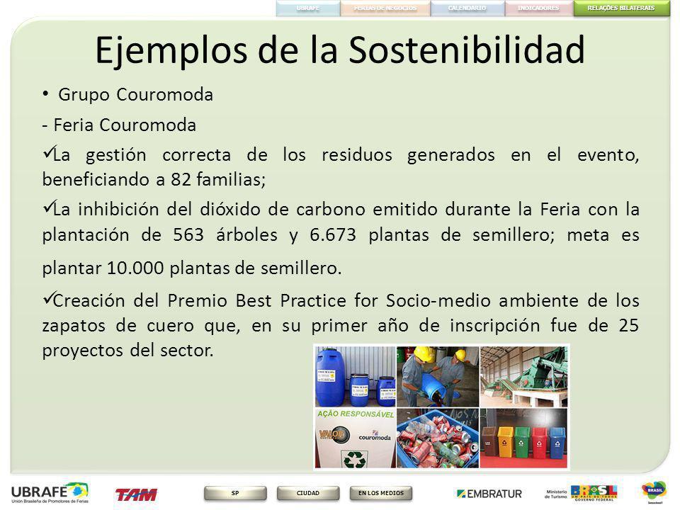 RELAÇÕES BILATERAIS RELAÇÕES BILATERAIS FERIAS DE NEGOCIOS INDICADORES CALENDARIO EN LOS MEDIOS CIUDAD SP UBRAFE Ejemplos de la Sostenibilidad Grupo C