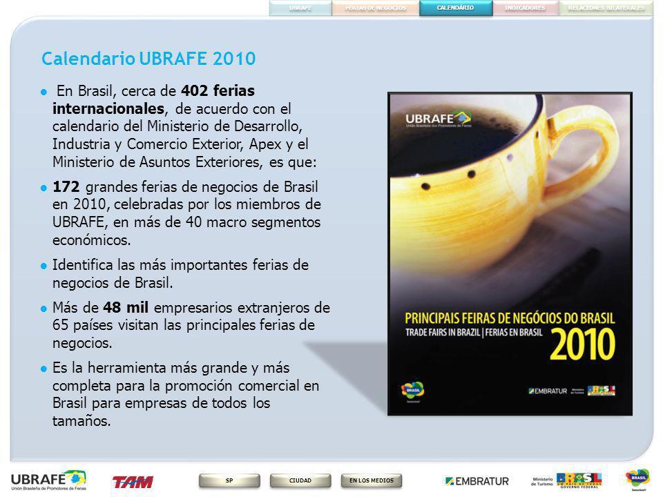 CALENDÁRIO FERIAS DE NEGOCIOS RELACIONES BILATERALES INDICADORES EN LOS MEDIOS CIUDAD SP UBRAFE Calendario UBRAFE 2010 En Brasil, cerca de 402 ferias