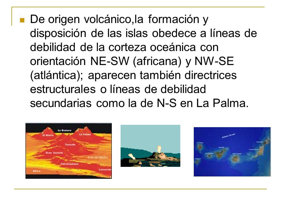 De origen volcánico,la formación y disposición de las islas obedece a líneas de debilidad de la corteza oceánica con orientación NE-SW (africana) y NW