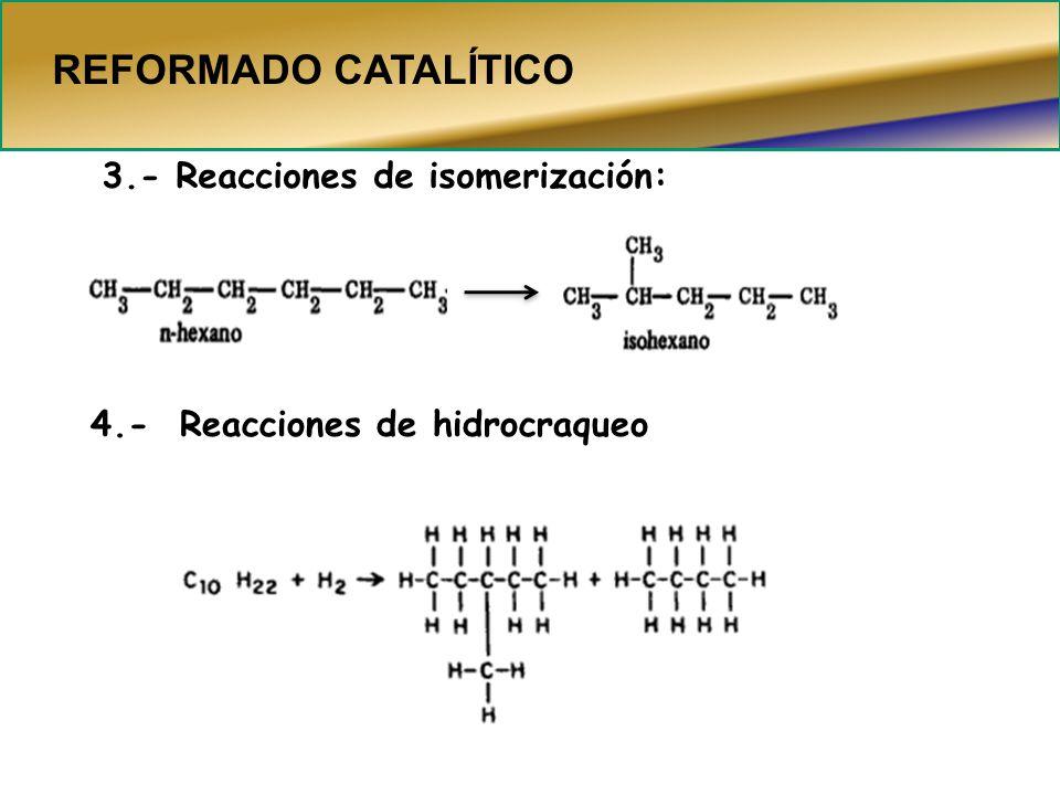 3.- Reacciones de isomerización: 4.- Reacciones de hidrocraqueo REFORMADO CATALÍTICO