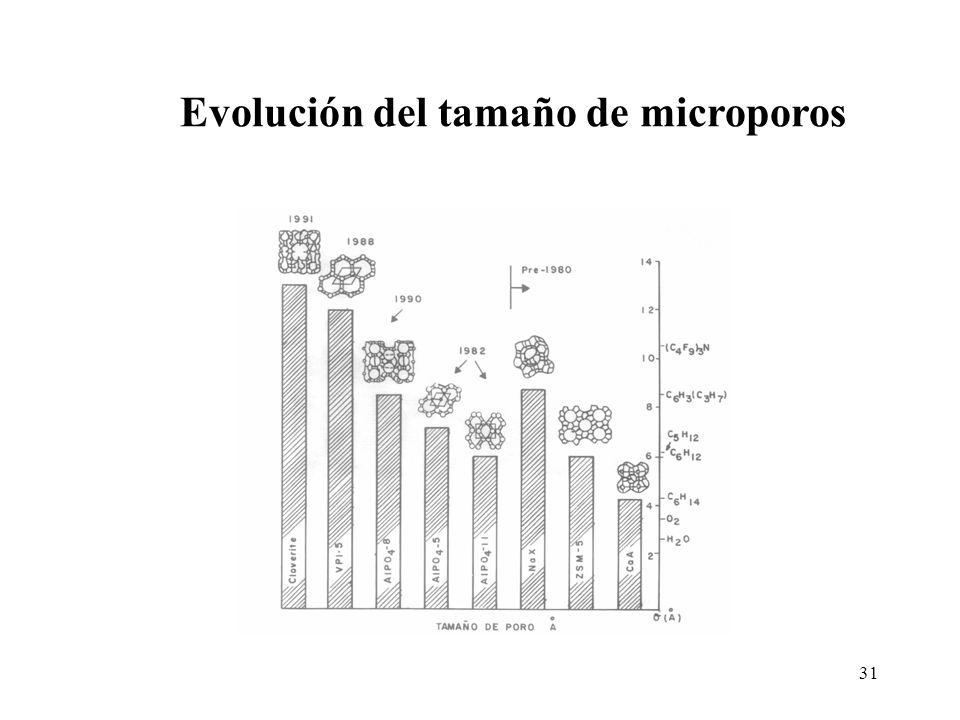 31 Evolución del tamaño de microporos