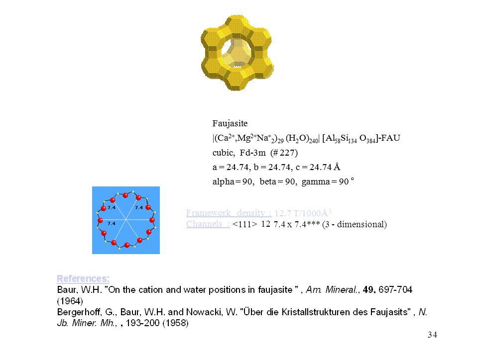 34 FAU Type material: Frameworkdensity: 12.7 T/1000Å 3 Channels: 12 7.4 x 7.4*** (3-dimensional) alpha = 90,beta = 90,gamma = 90 ° a = 24.74,b = 24.74