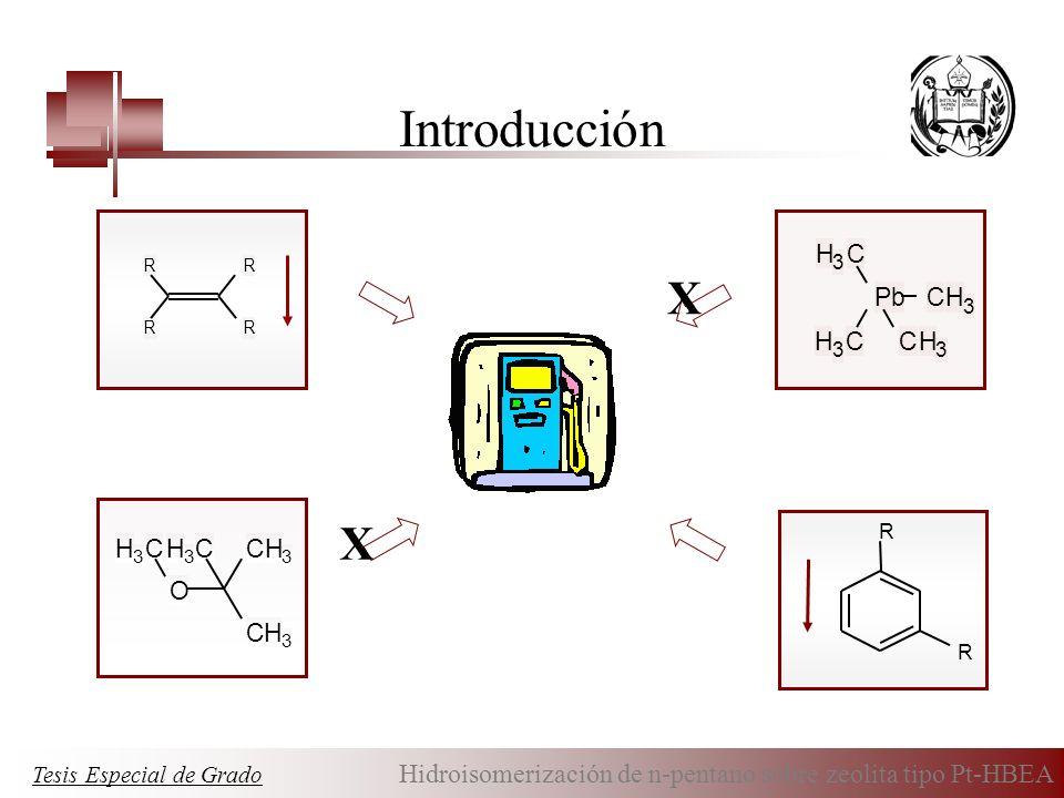 Introducción R RR R O CH 3 CH 3 CH 3 CH 3 PbCH 3 CH 3 CH 3 CH 3 R R X X Tesis Especial de Grado Hidroisomerización de n-pentano sobre zeolita tipo Pt-