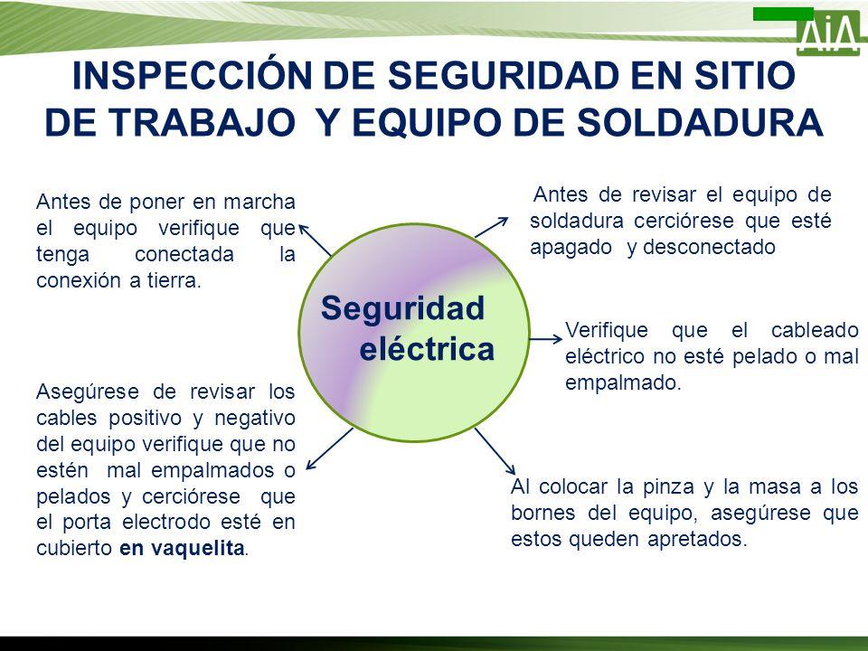 INSPECCIÓN DE SEGURIDAD EN SITIO DE TRABAJO Y EQUIPO DE SOLDADURA Seguridad eléctrica Antes de revisar el equipo de soldadura cerciórese que esté apag