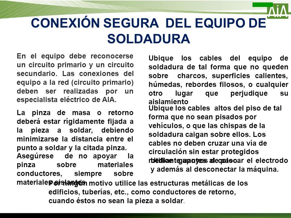 CONEXIÓN SEGURA DEL EQUIPO DE SOLDADURA En el equipo debe reconocerse un circuito primario y un circuito secundario. Las conexiones del equipo a la re