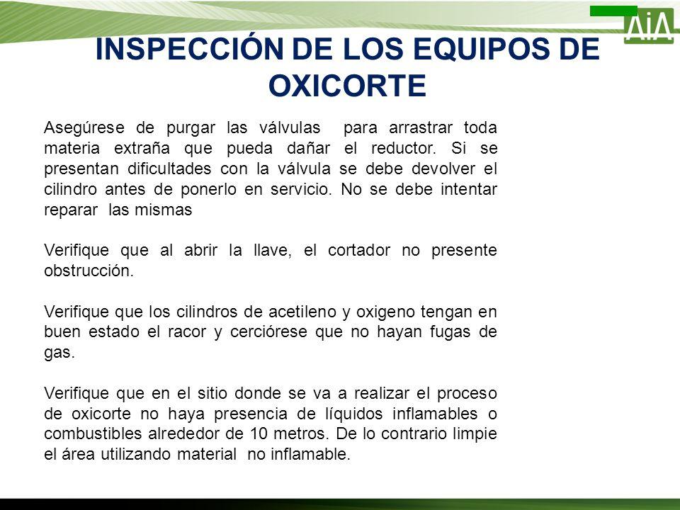 INSPECCIÓN DE LOS EQUIPOS DE OXICORTE Asegúrese de purgar las válvulas para arrastrar toda materia extraña que pueda dañar el reductor. Si se presenta