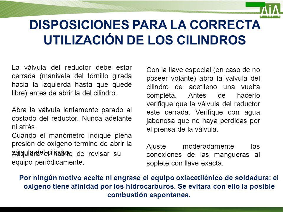 DISPOSICIONES PARA LA CORRECTA UTILIZACIÓN DE LOS CILINDROS La válvula del reductor debe estar cerrada (manivela del tornillo girada hacia la izquierd