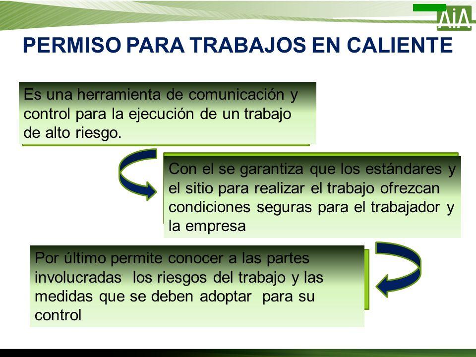 PERMISO PARA TRABAJOS EN CALIENTE Es una herramienta de comunicación y control para la ejecución de un trabajo de alto riesgo. Con el se garantiza que