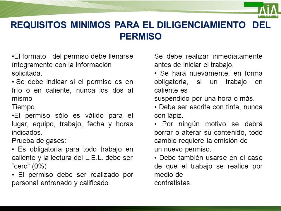 REQUISITOS MINIMOS PARA EL DILIGENCIAMIENTO DEL PERMISO El formato del permiso debe llenarse íntegramente con la información solicitada. Se debe indic