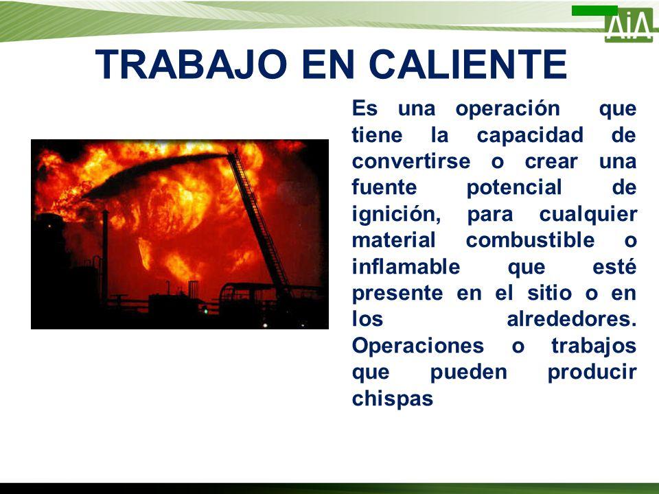 TRABAJO EN CALIENTE Es una operación que tiene la capacidad de convertirse o crear una fuente potencial de ignición, para cualquier material combustib