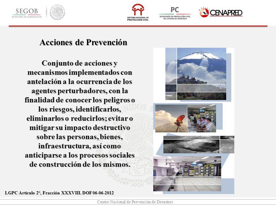 Centro Nacional de Prevención de Desastres Acciones de Prevención Conjunto de acciones y mecanismos implementados con antelación a la ocurrencia de lo