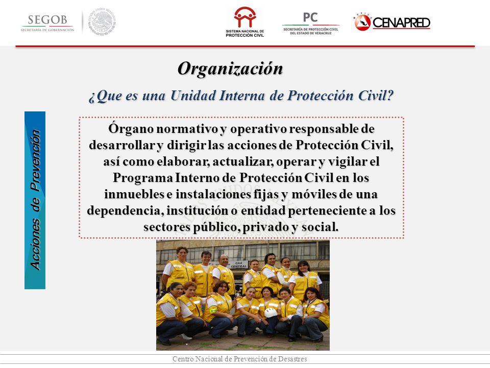 Centro Nacional de Prevención de Desastres Órgano normativo y operativo responsable de desarrollar y dirigir las acciones de Protección Civil, así com
